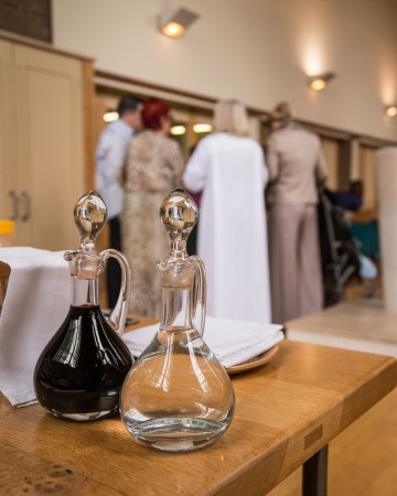 Eucharist water wine at a service