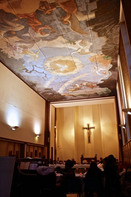 Church ceiling mural dove