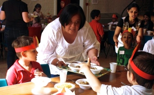 Volunteering at messy church food