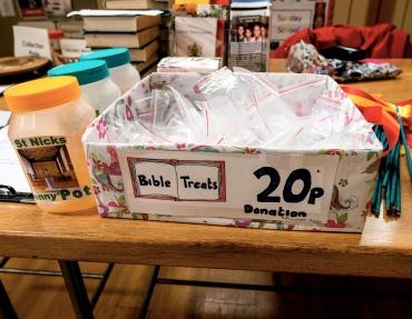 Bible treats giving, penny pot, donations